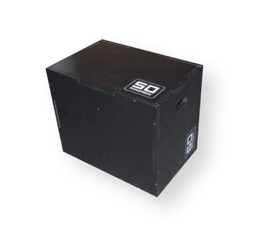 Cajón pliométrico de madera desmontado negro