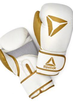 Guante boxeo eco cuero 10 oz dorado y blanco Reebok