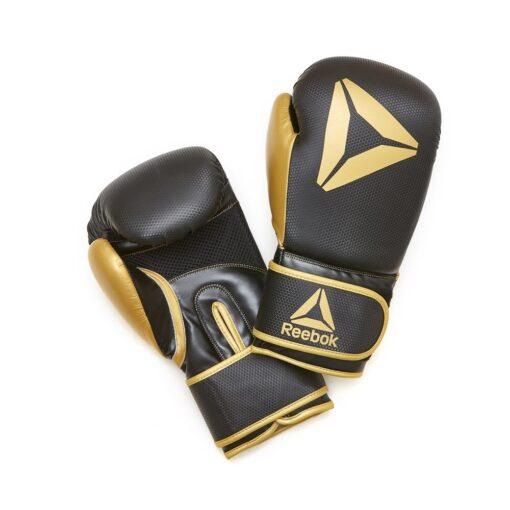 Guante boxeo eco cuero 12 oz dorado y negro Reebok
