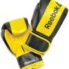 Guante boxeo PU 12 oz negro y amarillo Reebok