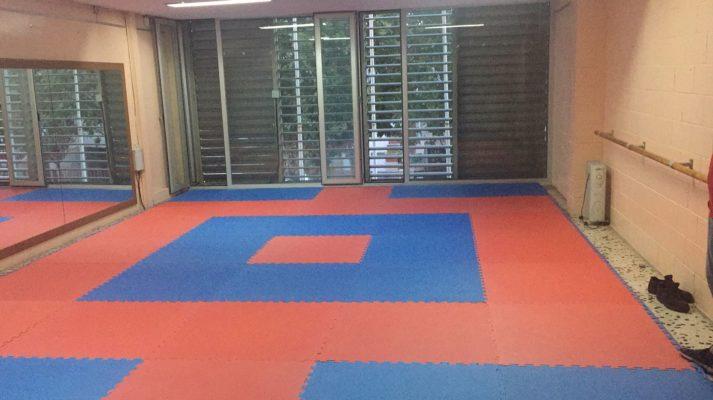 Tatami puzzle goma EVA 100x100x4 cm rojoazul